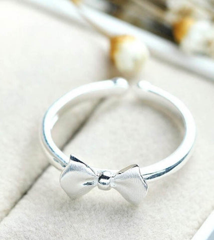 925 Sterling Silver Adjustable Bow Ring For Women