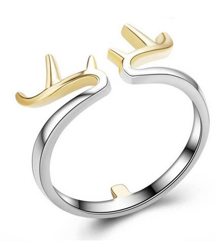 925 Sterling Silver Adjustable Dear Horns Ring