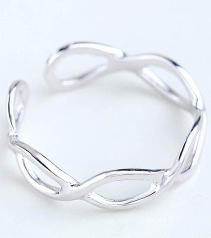 925 Sterling Silver Adjustable Band Ring For Women