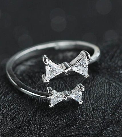 925 Sterling Silver Adjustable Crystal Bow Ring For Women
