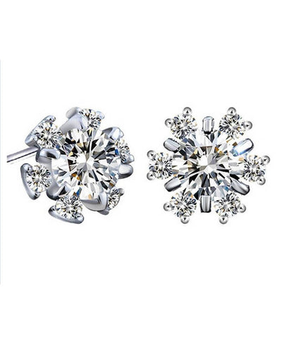 925 Sterling Silver Crystal Stud Earrings For Women