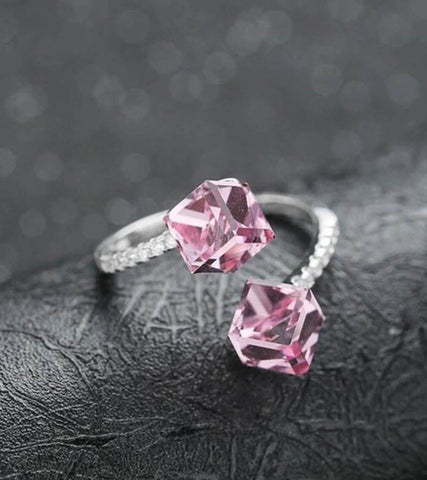 925 Sterling Silver Adjustable Pink Crystal Ring For Women