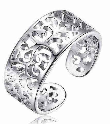 925 Sterling Silver Adjustable Filigree  Band Ring For Women