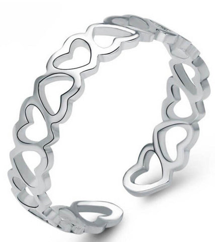 925 Sterling Silver Adjustable  A Finger Full Of Hearts Band Ring For Women