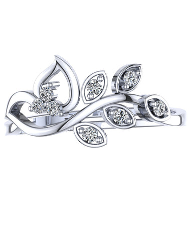 925 Sterling Silver Austrian Crystal Leaf Adjustable Ring