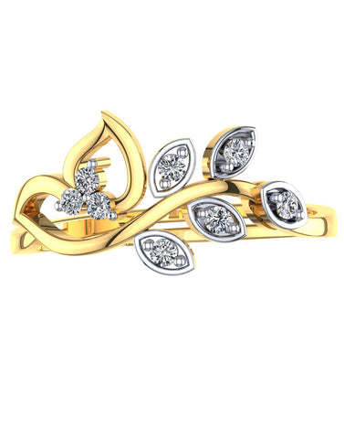 GoldPlated 925 Sterling Silver Austrian Crystal Leaf Adjustable Ring