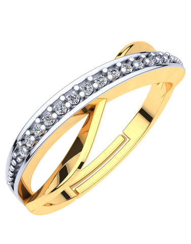 GoldPlated 925 Sterling Silver Adjustable Crystal Ring