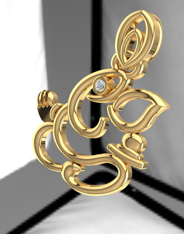 GoldPlated 925 Sterling Silver Ganesha Pendant for Women (Without Chain)