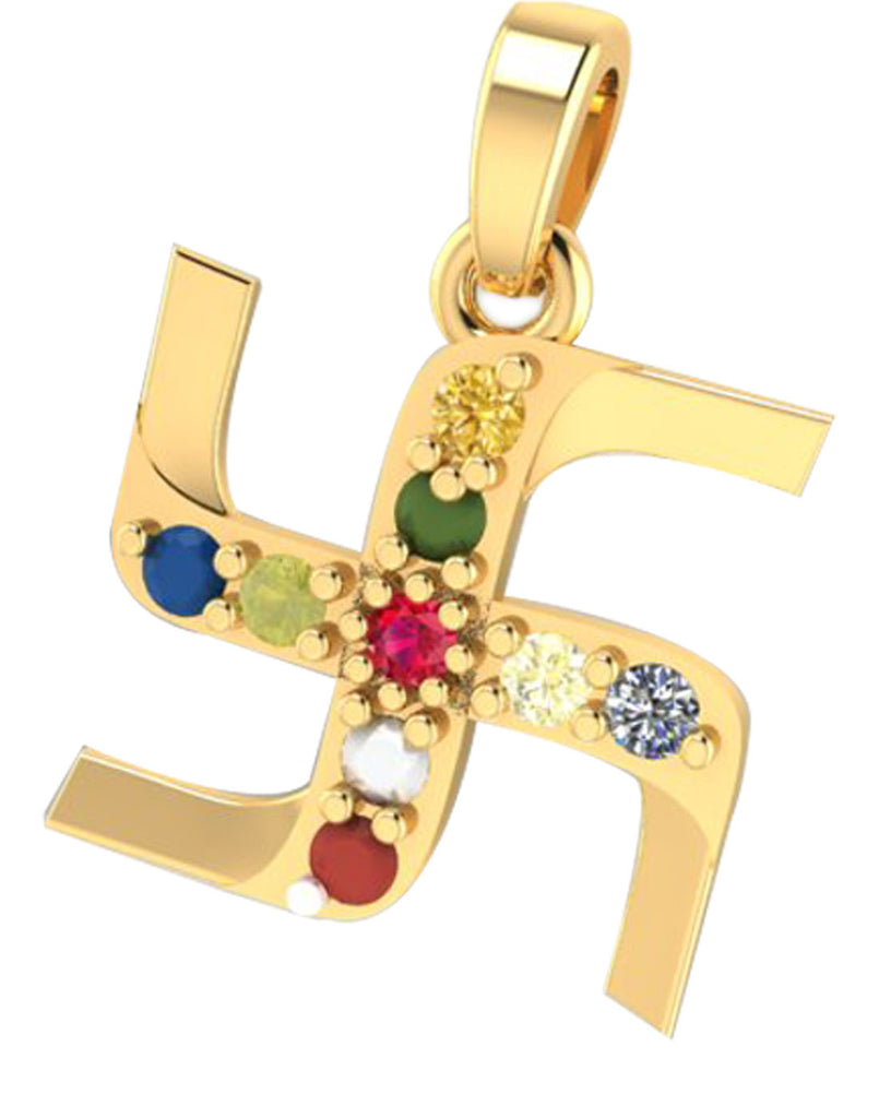 GoldPlated 925 Sterling Silver Swastik Pendant for Women (Without Chain)