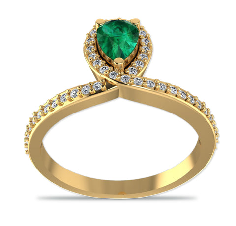 GoldPlated 925 Sterling Silver Green Austrian Crystal Ring for Women