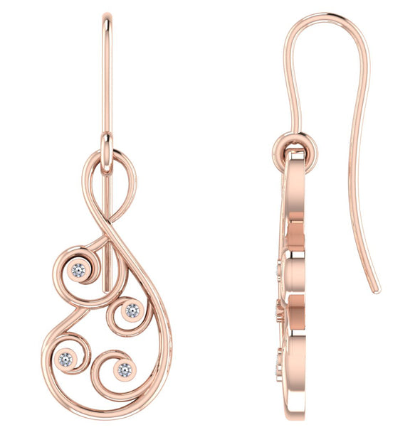 Rose GoldPlated 925 Sterling Silver Dangle Earrings For Women