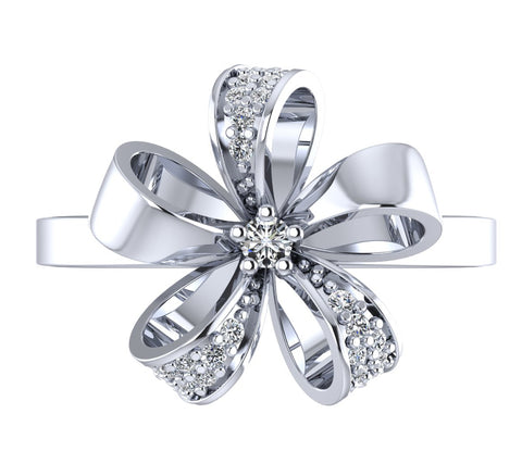 Floweret 925 Sterling Silver Adjustable Crystal Adjustable Ring for Women