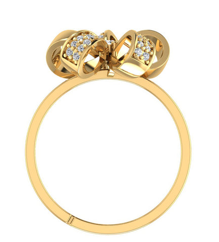 Floweret 925 GoldPlated Sterling Silver Adjustable Crystal Adjustable Ring for Women