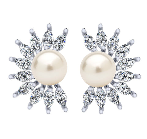 925 Sterling Silver Crystal White Crystal Stud Earrings For Women