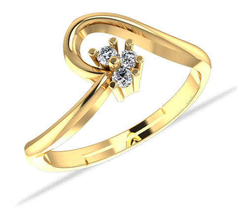 925 GoldPlated Sterling Silver Adjustable Crystal Adjustable Ring for Women