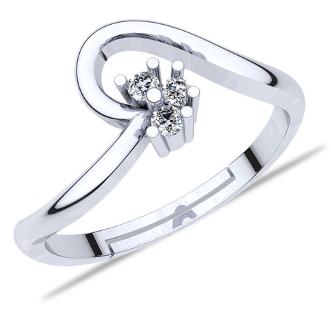 925 Sterling Silver Adjustable Crystal Adjustable Ring for Women