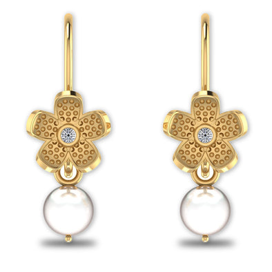 GoldPlated 925 Sterling Silver Pearl Drop Stud Earrings For Women