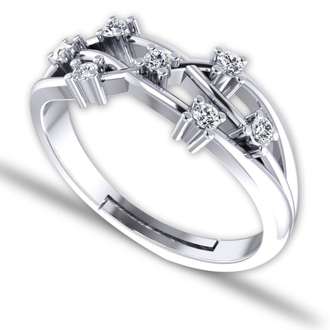 925 Sterling Silver Adjustable Crystal Ring for Women