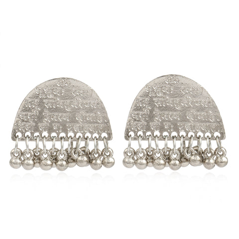 Jaipuri Designer Vintage Oxidised German Silver Tribal Light Weighted Earring for Women
