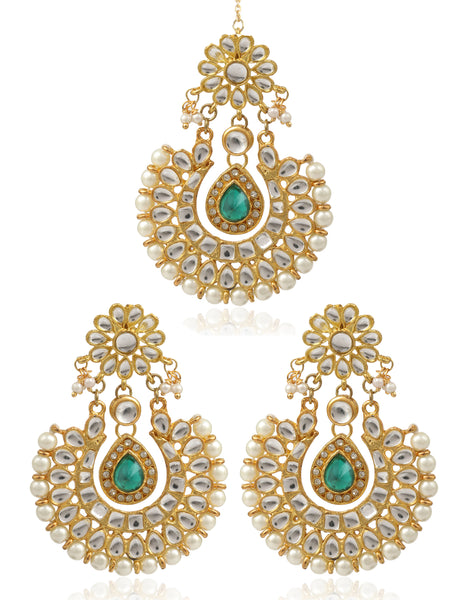 GoldPlated Kundan Chandbali Earrings With Maang-Tikka