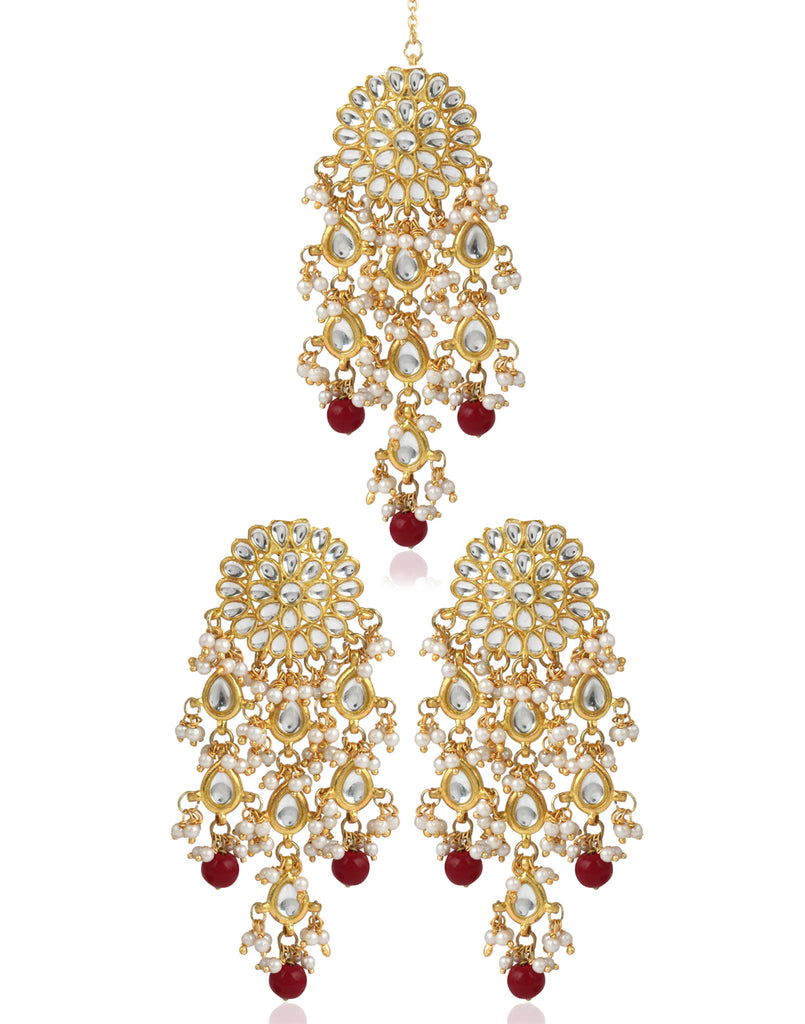 976f5969b8f95 Kundan Dangle Earrings with Pearl Tassels | KaratCart.com