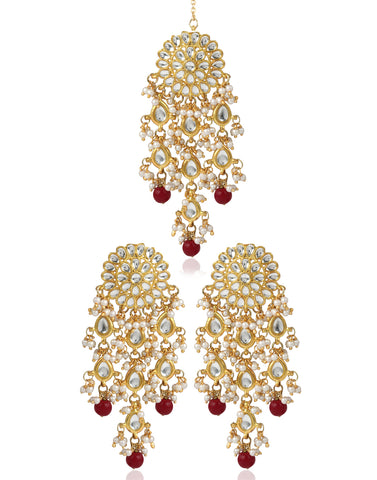 Kundan Dangle Earrings with Pearl Tassels