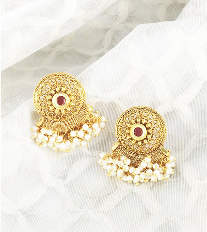 Aishani Red Centre Stone Earrings