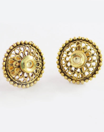 Traditional Filigree Goldplated Stud Earrings
