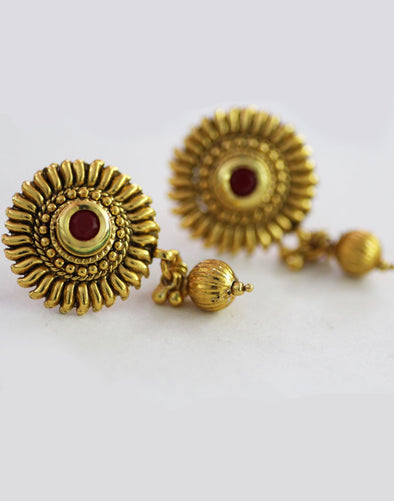 Traditional Goldplated Red Stone Stud Earrings