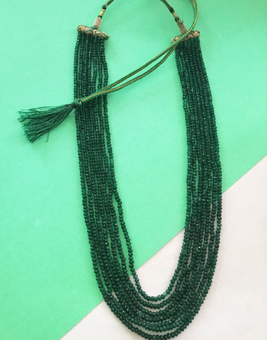 Faux Emerald 7 string necklace