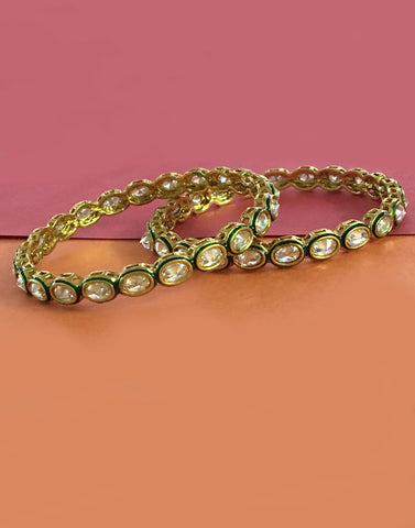Kundan Reverse Polki Bangle Pair