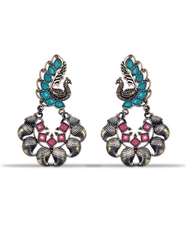 Afghani Tribal Oxidised Dangler Stylish Fancy Party Wear Light Weight Peacock Earrings