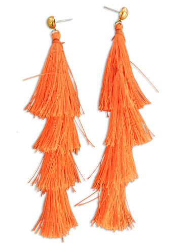 Orange Tassel Earrings by Karatcart