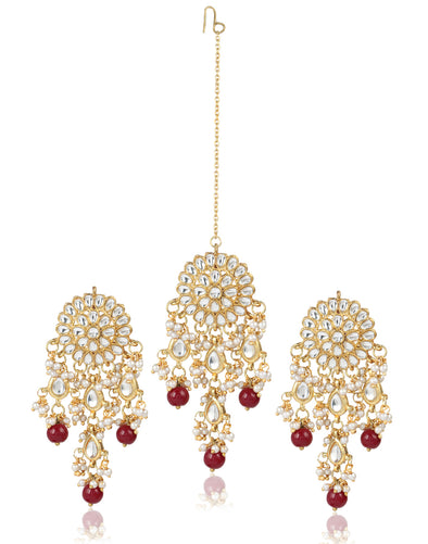 GoldPlated Stylish Fancy Party Wear Tassel Earrings with Maang-Tikka