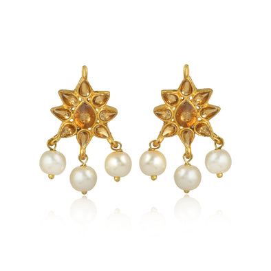 GoldPlated Kundan Stylish Fancy Party Wear Stud Earrings For Women