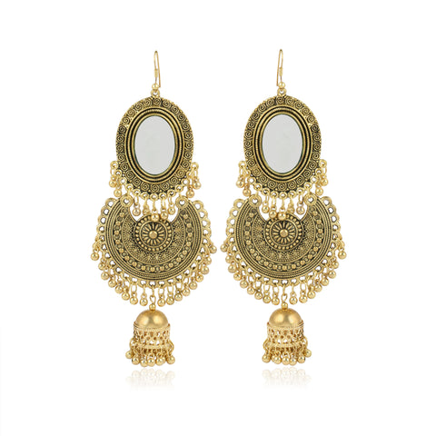 Karatcart GoldPlated Jaipuri Designer Vintage Oxidised German Tribal Dangler Hanging Mirror Earring Antique Jewellery for Women