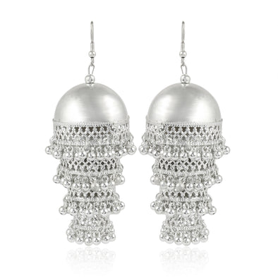 Karatcart Jaipuri Designer Vintage Oxidised German Silver Tribal Light Weighted Multi- layered Jhumki Earring  for Women