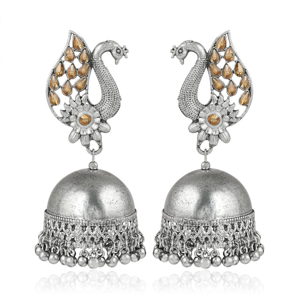 Karatcart Afghani Tribal Oxidised Dangler Stylish Fancy Party Wear Light Weight Peacock Jhumki Earrings For Women