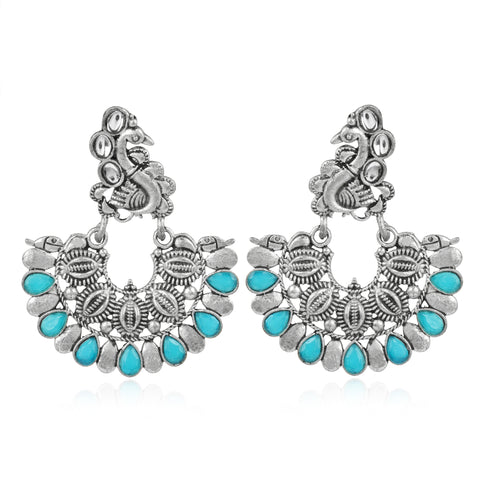 Karatcart Afghani Tribal Oxidised Dangler Stylish Fancy Party Wear Light Weight Peacock Earrings For Women