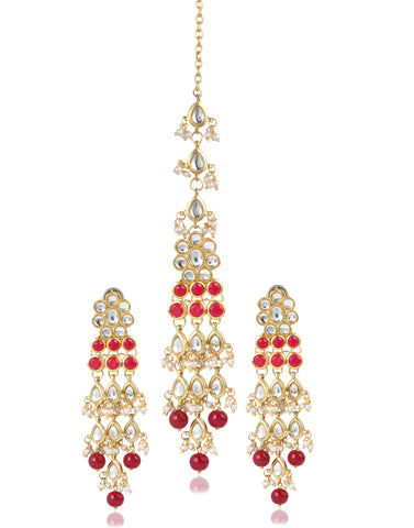 GoldPlated Dangler Stylish Fancy Party Wear Earrings with Maang-Tikka For Women