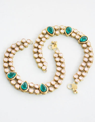Karatcart Kundan And Pearl Choker Shape Gold Brass Anklet
