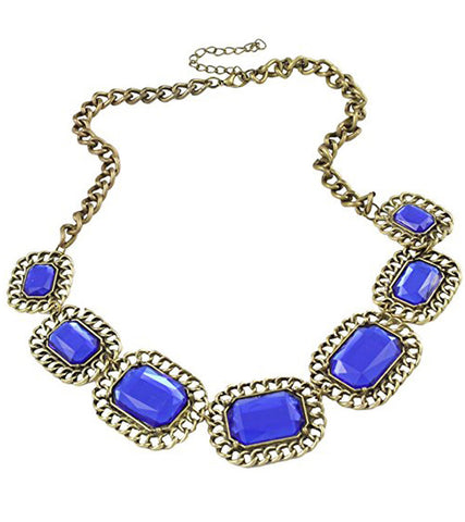 Karatcart Blue Chunky Stone Statement Zinc Alloy Necklace