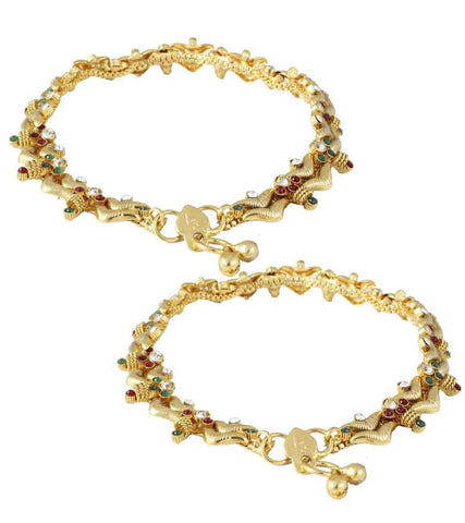 Karatcart 22k Goldplated Traditional Anklet Pair  by Karatcart