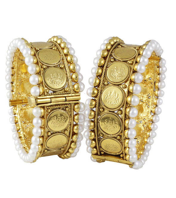 Karatcart 22k Goldplated Traditional Bangle Pair  by Karatcart