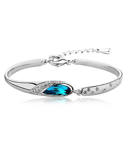 Karatcart Platinum Plated Blue Crystal Bracelet for Girls