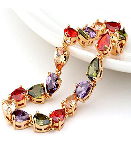 Premium Multi-Colour 24K Rose GoldPlated Swiss Cubic Zirconia Bracelet