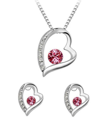 Karatcart Heart Shaped Unique Crystal Metal Jewel Set