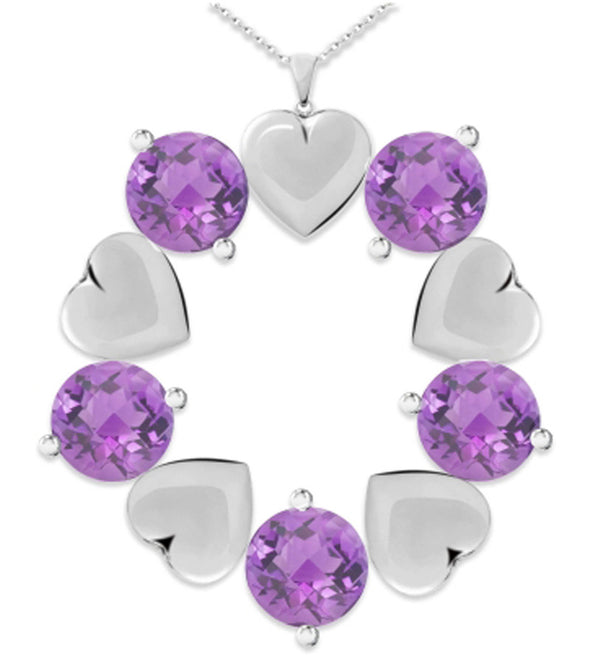 Silver Heart and Purple Crystal Studded Metal Pendant