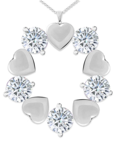 Karatcart Heart And Round Crystal Metal Pendant