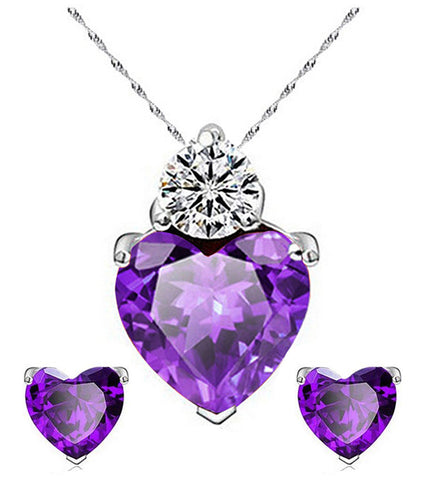 Karatcart Platinum Plated Purple Heart Shaped Austrian Crystal Pendant Set